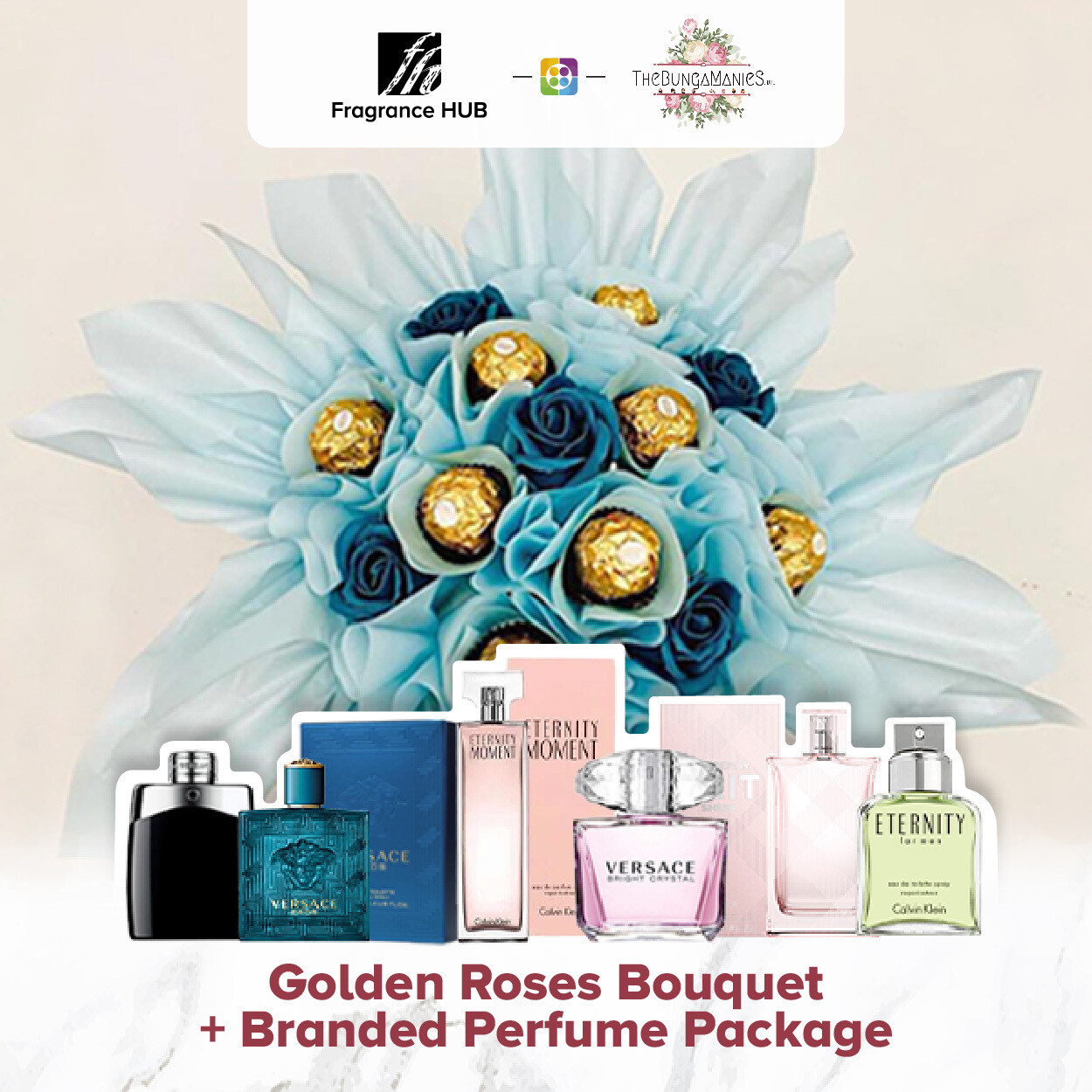 Golden Roses Bouquet + Fragrance Hub Branded Perfume (By: The Bunga Manies from Bintulu)