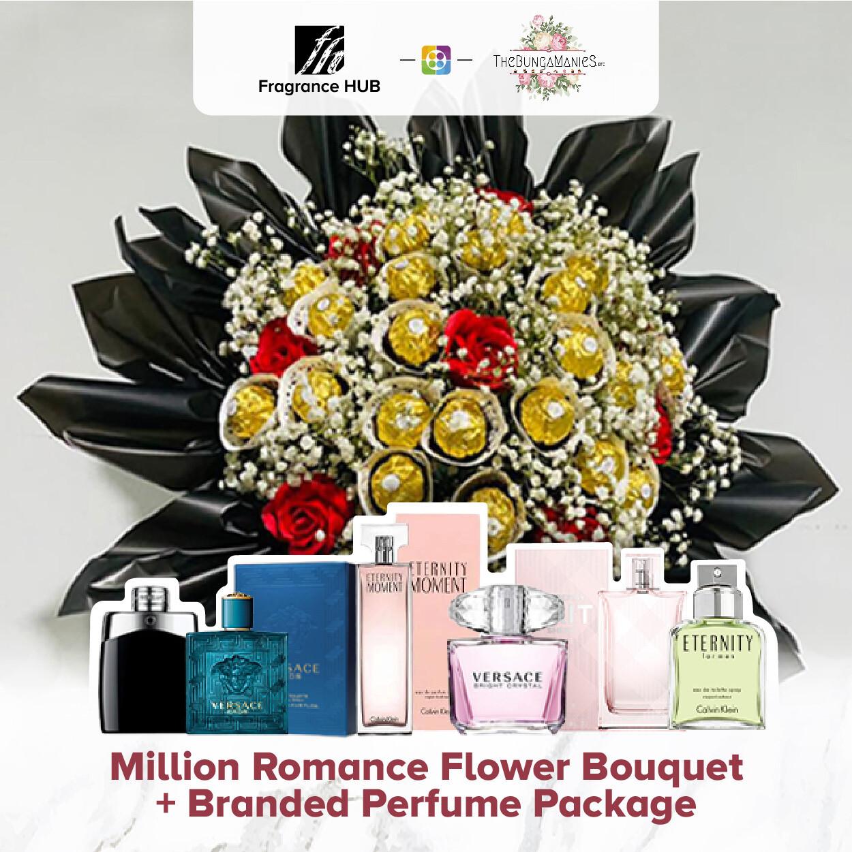 Million Romance Bouquet + Fragrance Hub Branded Perfume (By: The Bunga Manies from Bintulu)