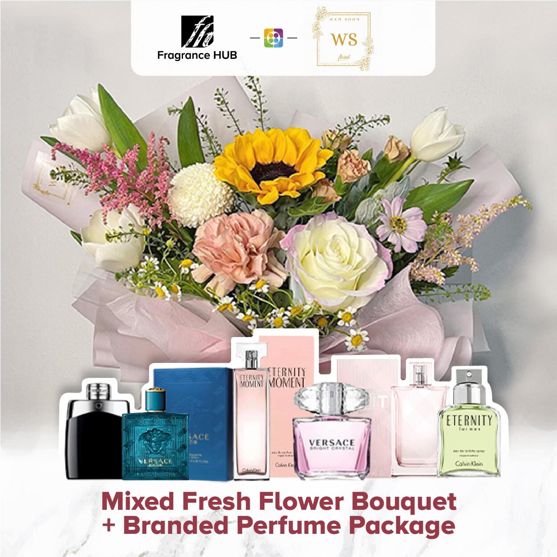 Mixed Fresh Flower Bouquet + Fragrance Hub Branded Perfume (By: Wan Soon Florist from Miri)