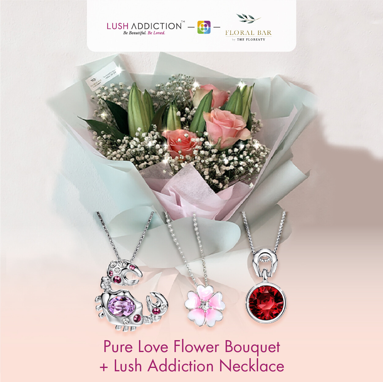 Pure Love Flowers Bouquet + Lush Addiction Necklace (By: Floral Bar By The Florestry from JB)