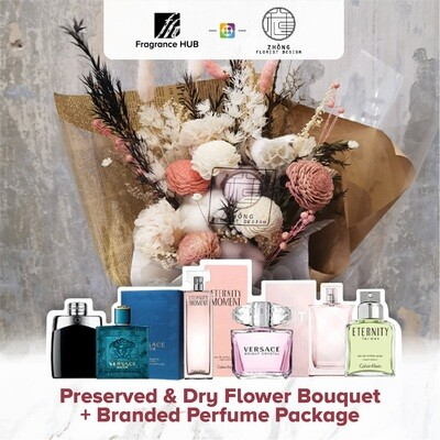 Preserved And Dry Flower Bouquet  + Fragrance Hub Branded Perfume (By: Zhong Florist from Penang)