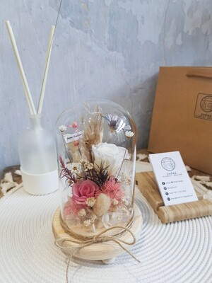Preserved Flower In Bell Glass Jar  (By: Zhong Florist from Penang)