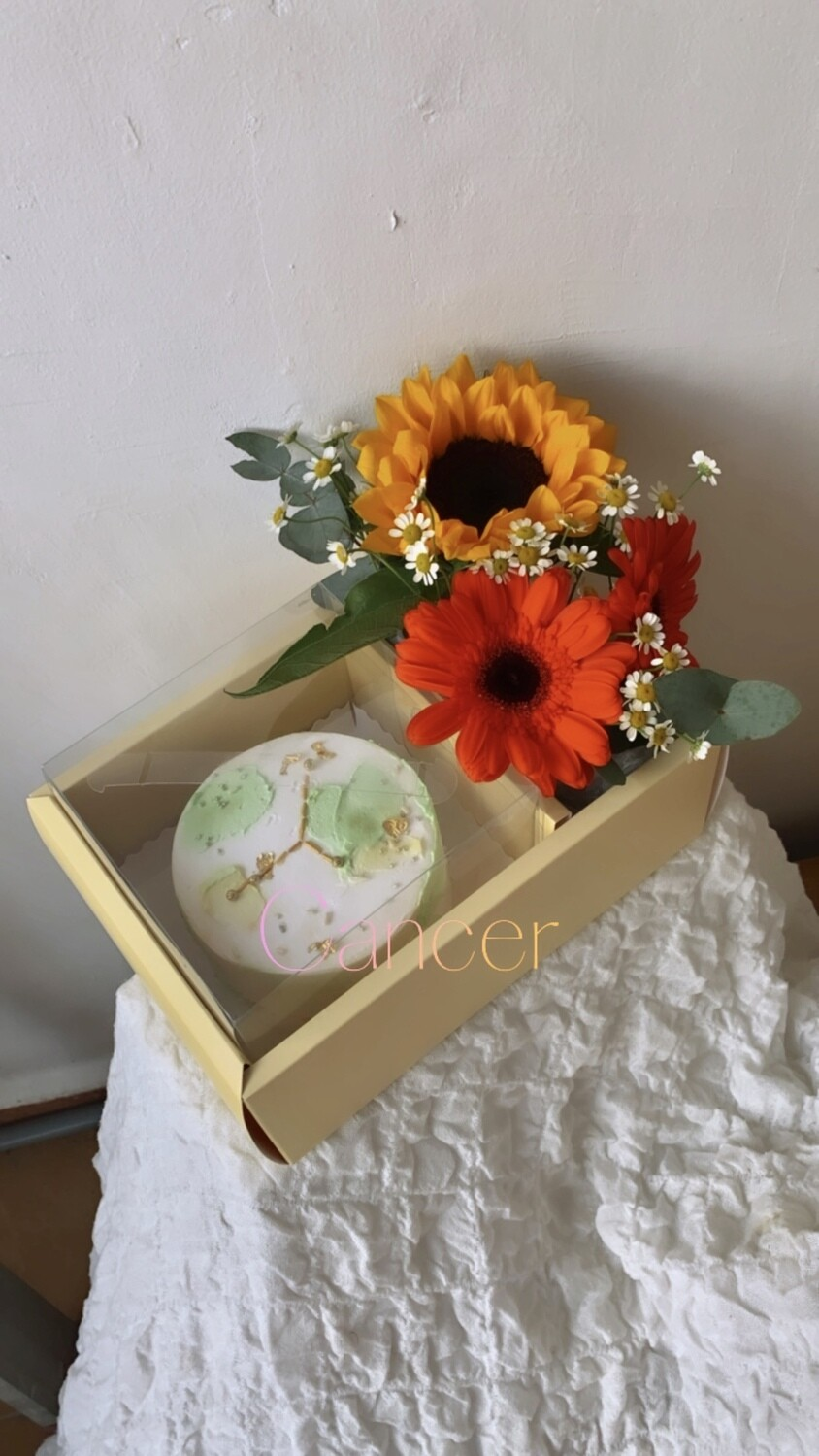 Cancer Horoscope Cake With Flower Box (By: Floral Bar By The Florestry from JB)