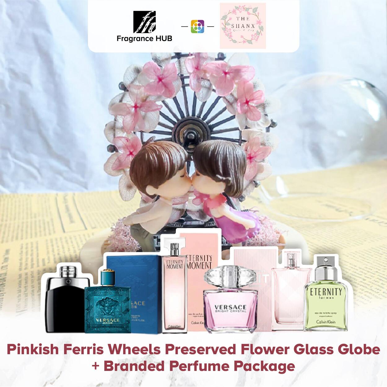 Pinkish Ferris Wheels Preserved Flower Glass Globe + Fragrance Hub Branded Perfume (By: The Shanx Florist from Melaka)