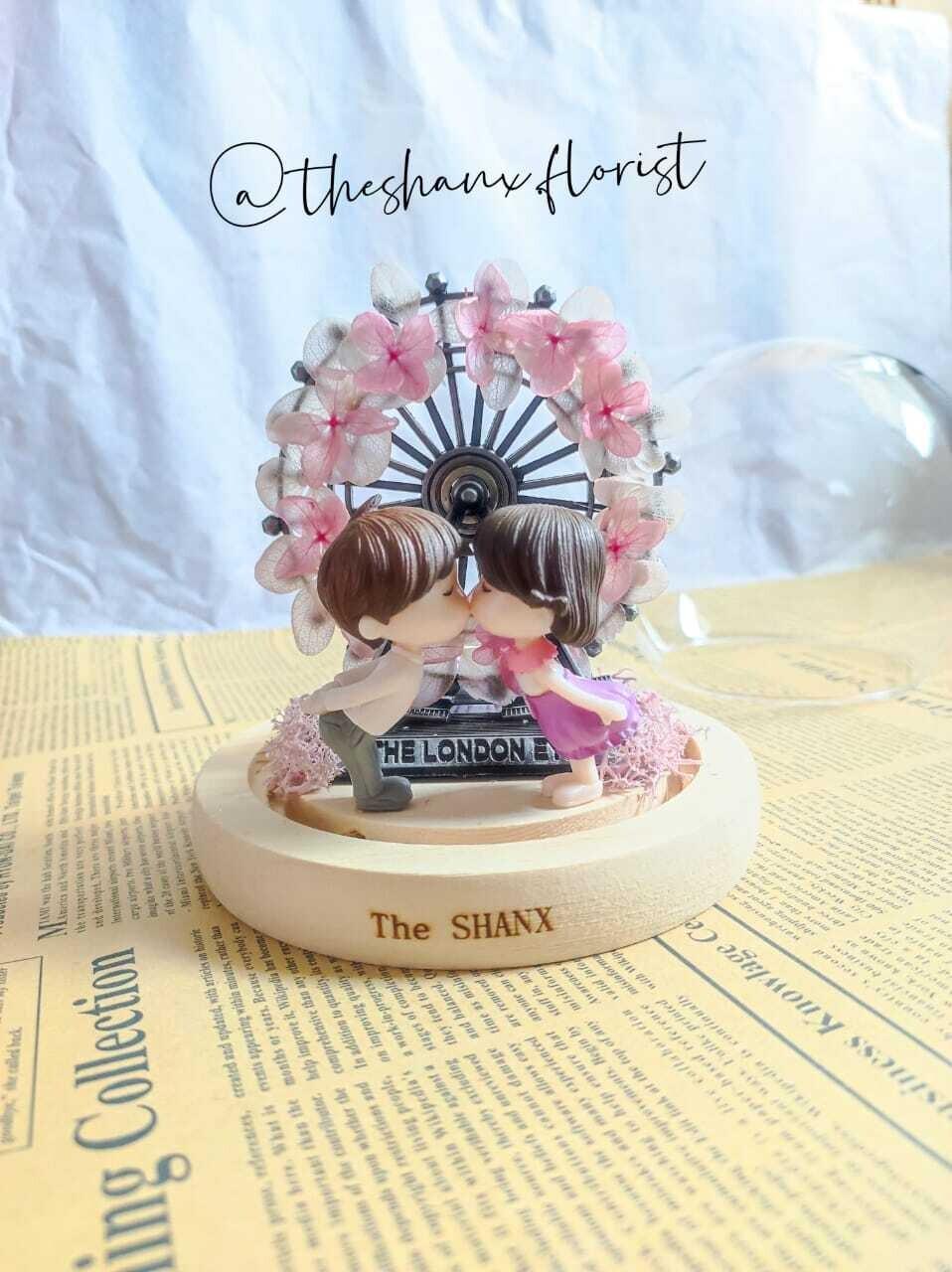 Pinkish Ferris Wheels Preserved Flower Glass Globe (By: The Shanx Florist from Melaka)