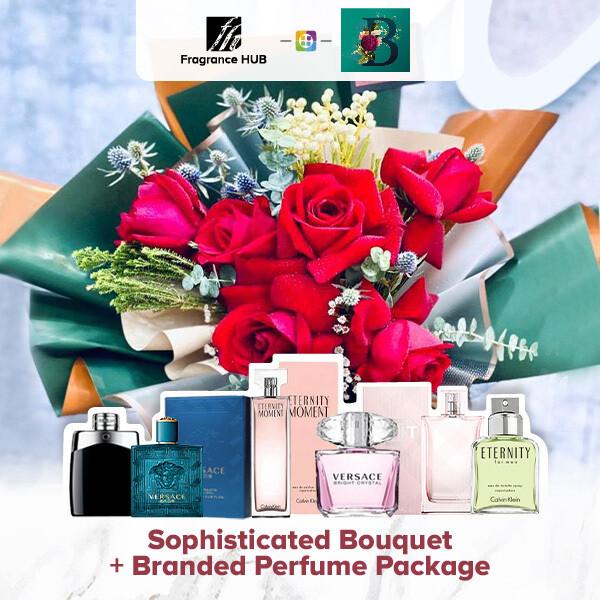 Sophisticated Bouquet + Fragrance Hub Branded Perfume (By: The Bliss Florist from Melaka)