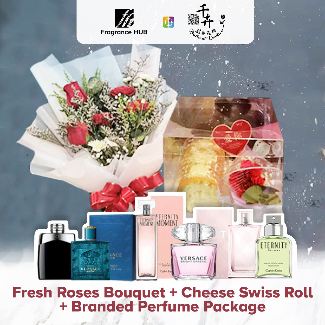 Fresh Roses Bouquet with Cheese Swiss Roll + Fragrance Hub Branded Perfume (By: Brilliant Creative Florist from Sibu)