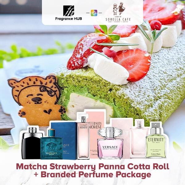 Matcha Strawberry Panna Cotta Roll + Fragrance Hub Branded Perfume (By: Sorella Cafe from JB)