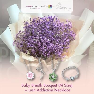 Baby Breath Bouquet (M Size) + Lush Addiction Necklace (By: Stylush Studio Floral Design from Kota Kinabalu)