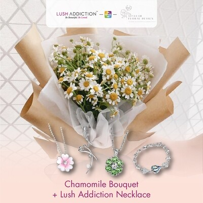 Chamomile Bouquet + Lush Addiction Necklace (By: Stylush Studio Floral Design from Kota Kinabalu)