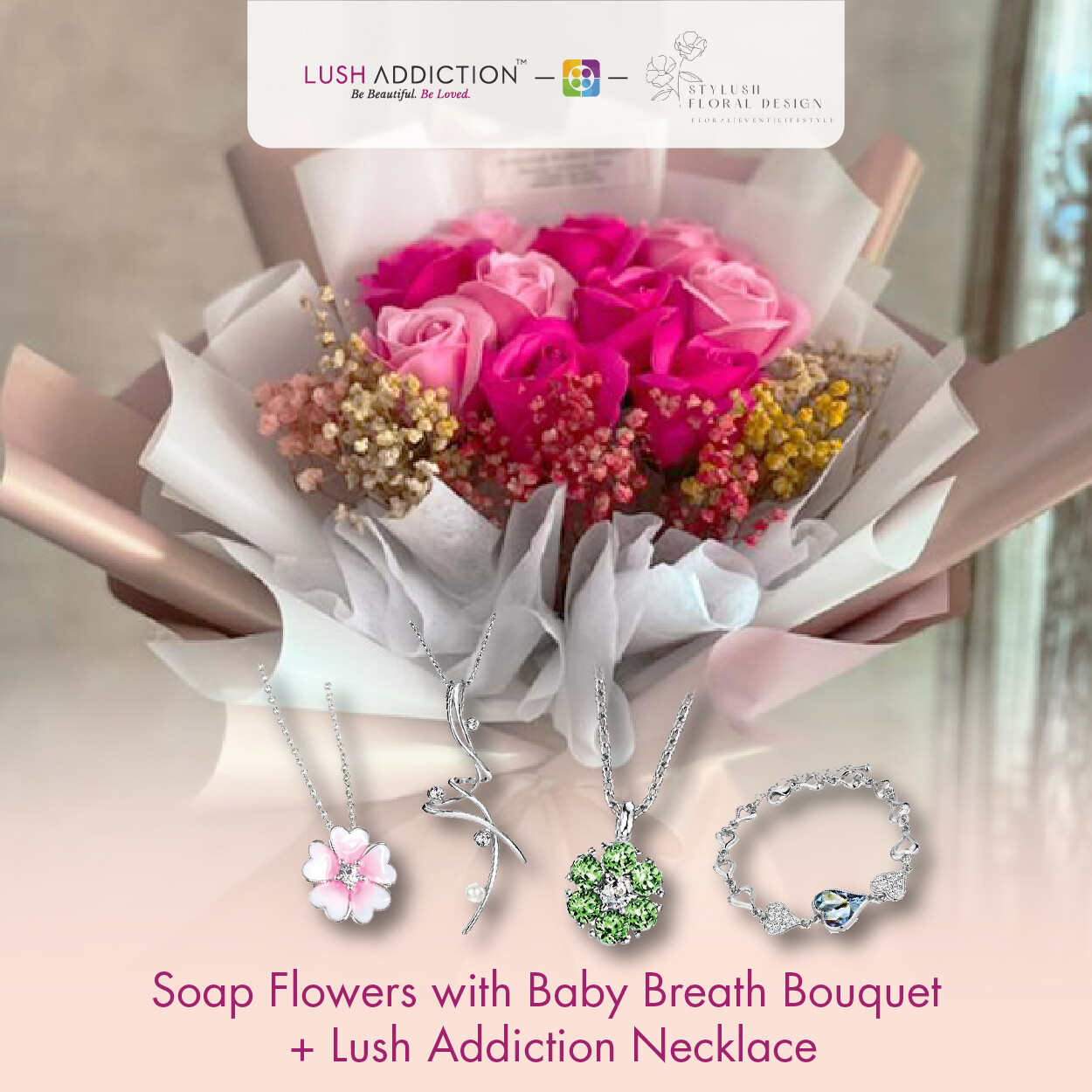 Soap Flowers with Baby Breath Bouquet + Lush Addiction Necklace (By: Stylush Studio Floral Design from Kota Kinabalu)