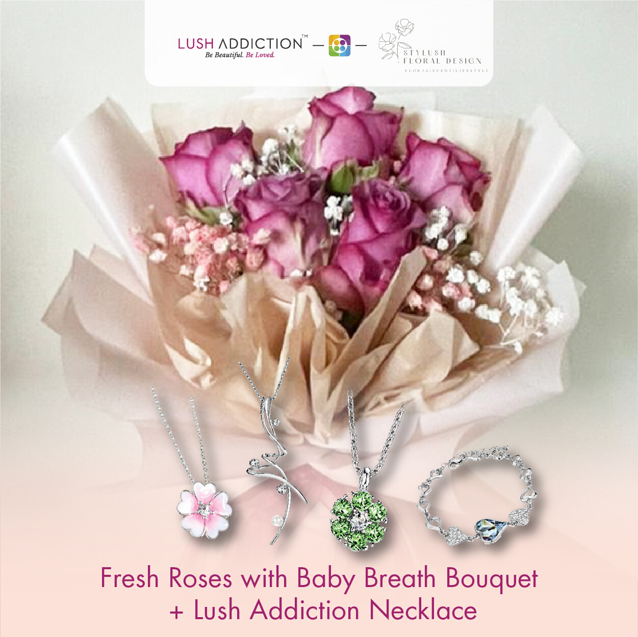 Fresh Roses With Baby Breath Bouquet + Lush Addiction Necklace (By: Stylush Studio Floral Design from Kota Kinabalu)