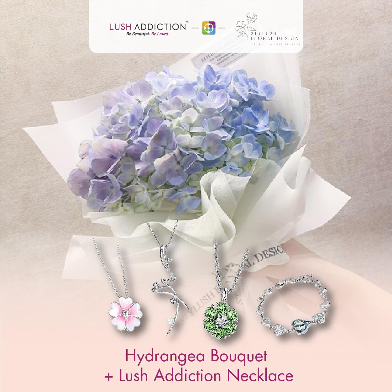 Hydrangea Bouquet + Lush Addiction Necklace (By: Stylush Studio Floral Design from Kota Kinabalu)