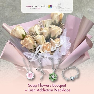 Soap Flowers Bouquet + Lush Addiction Necklace (By: Stylush Studio Floral Design from Kota Kinabalu)