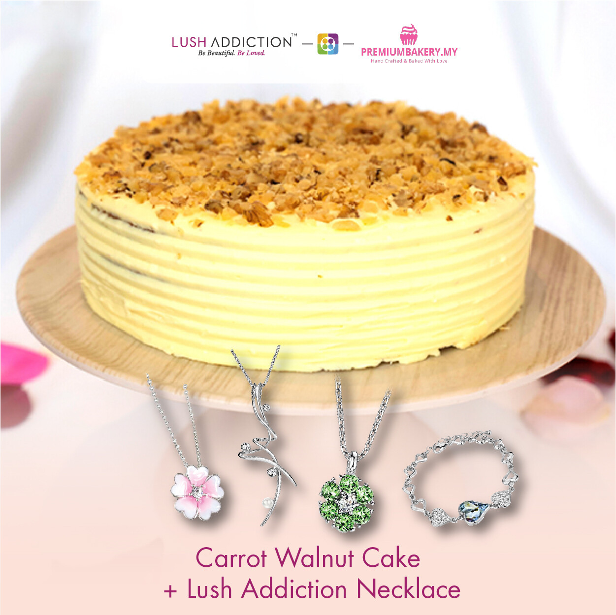 Carrot Walnut Cake + Lush Addiction Necklace (By: Premium Bakery  from KL)
