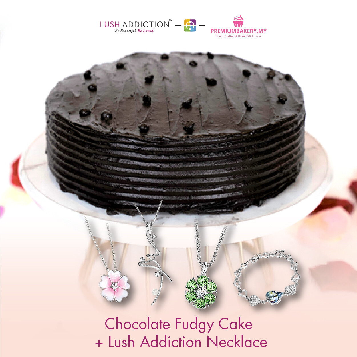Chocolate Fudgy Cake + Lush Addiction Necklace (By: Premium Bakery  from KL)
