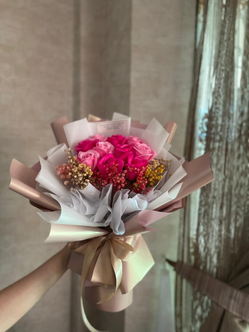 Soap Flowers with Baby Breath Bouquet (By: Stylush Studio Floral Design from Kota Kinabalu)