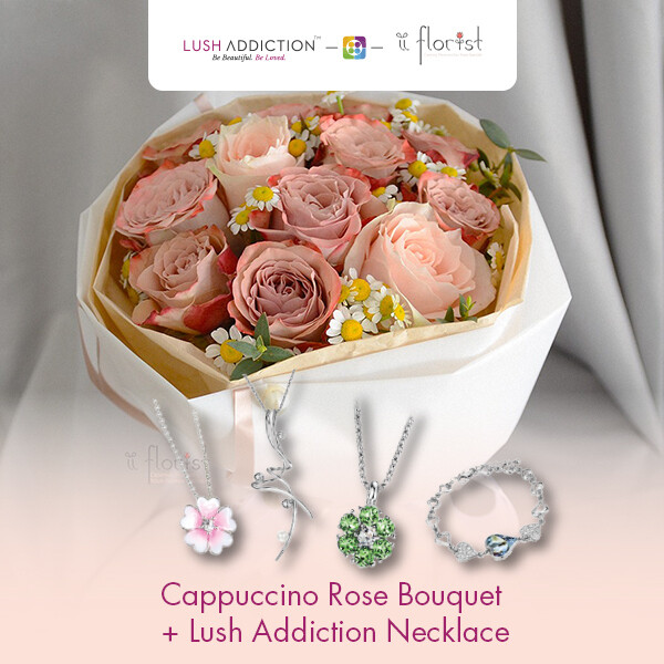Cappuccino Rose Bouquet + Lush Addiction Necklace (By: iiFlorist from Cheras)