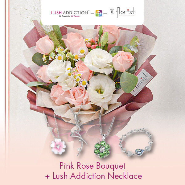 Pink Rose Bouquet + Lush Addiction Necklace (By: iiFlorist from Cheras)