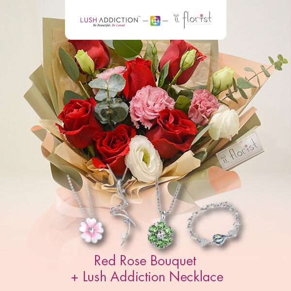 Red Rose Bouquet + Lush Addiction Necklace (By: iiFlorist from Cheras)