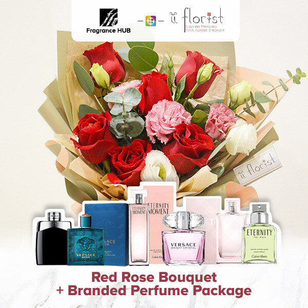 Red Rose Bouquet + Fragrance Hub Branded Perfume (By: iiFlorist from Cheras)