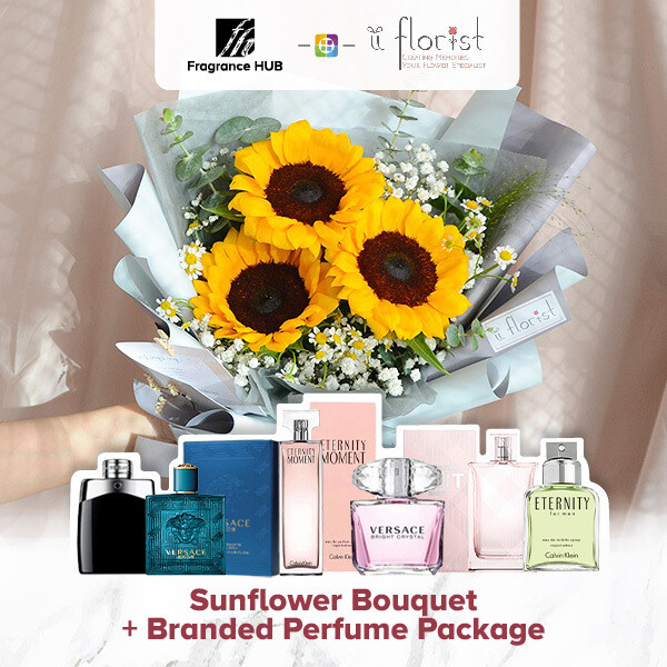 Sunflower Bouquet + Fragrance Hub Branded Perfume (By: iiFlorist from Cheras)