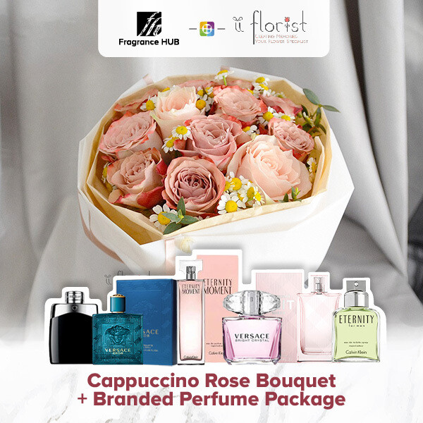 Cappuccino Rose Bouquet + Fragrance Hub Branded Perfume (By: iiFlorist from Cheras)