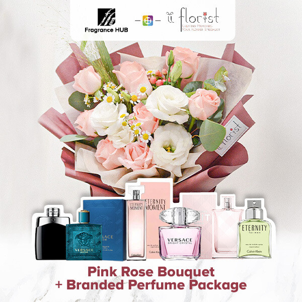 Pink Rose Bouquet + Fragrance Hub Branded Perfume (By: iiFlorist from Cheras)