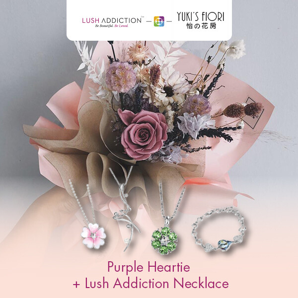 Preserved Flower Bouquet - Purple Heartie + Lush Addiction Necklace (By: Yuki's Flori from Bukit Jalil)
