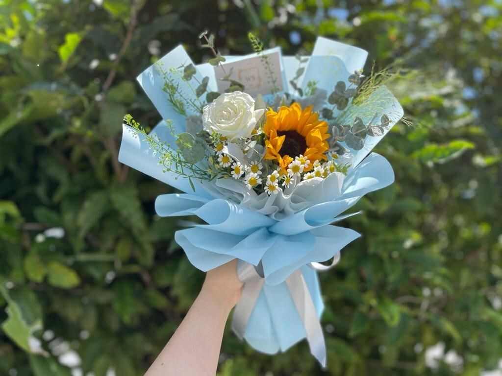 Sunflower + White Rose Bouquet (By: Wan Soon Florist from Miri)