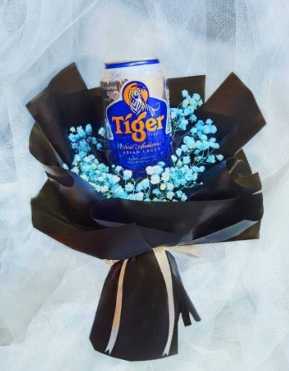 Blue Baby Breath With Tiger Beer Bouquet (By: Wistaria Florist from Sibu)