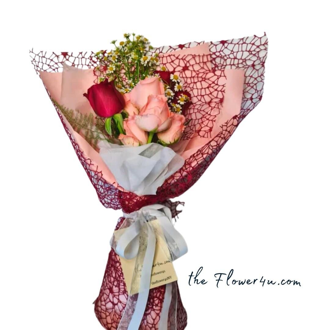 Rose Net Flower Bouquet (By: Flower 4 U from Petaling Jaya)