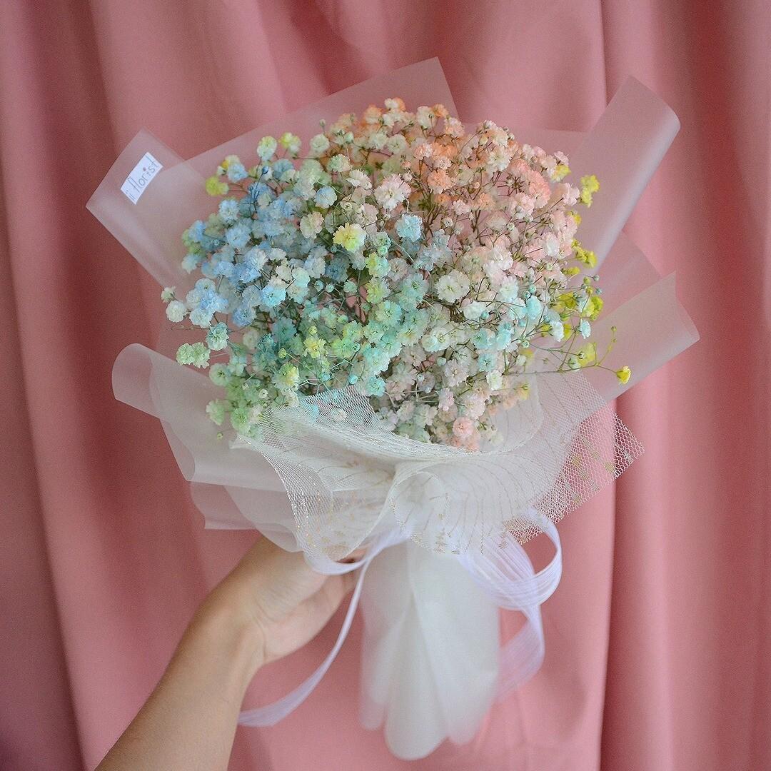 Rainbow Baby Breath Bouquet (By: iiFlorist from Cheras)