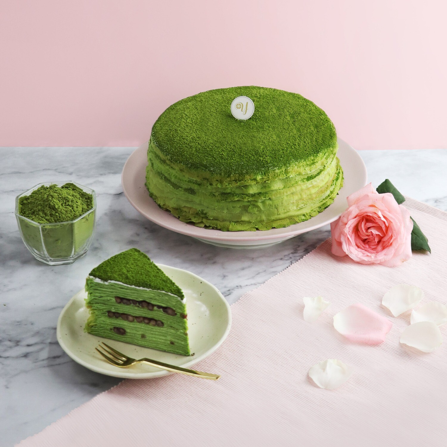 Matcha & Red Bean Mille Crepe Cake (By: Yippii Gift Cake from Kuala Lumpur)