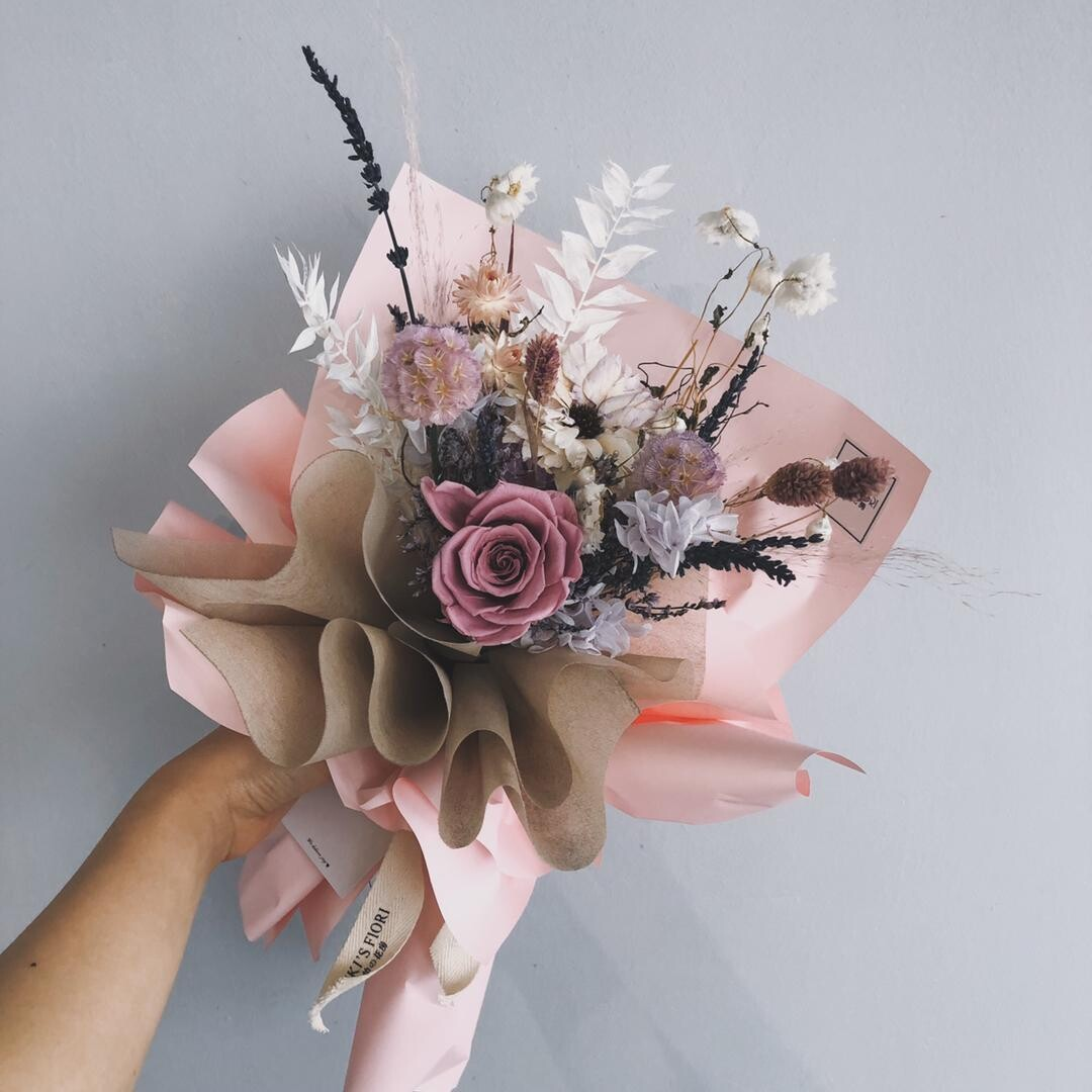 Preserved Flower Bouquet - Purple Heartie (By: Yuki Flori from Bukit Jalil)