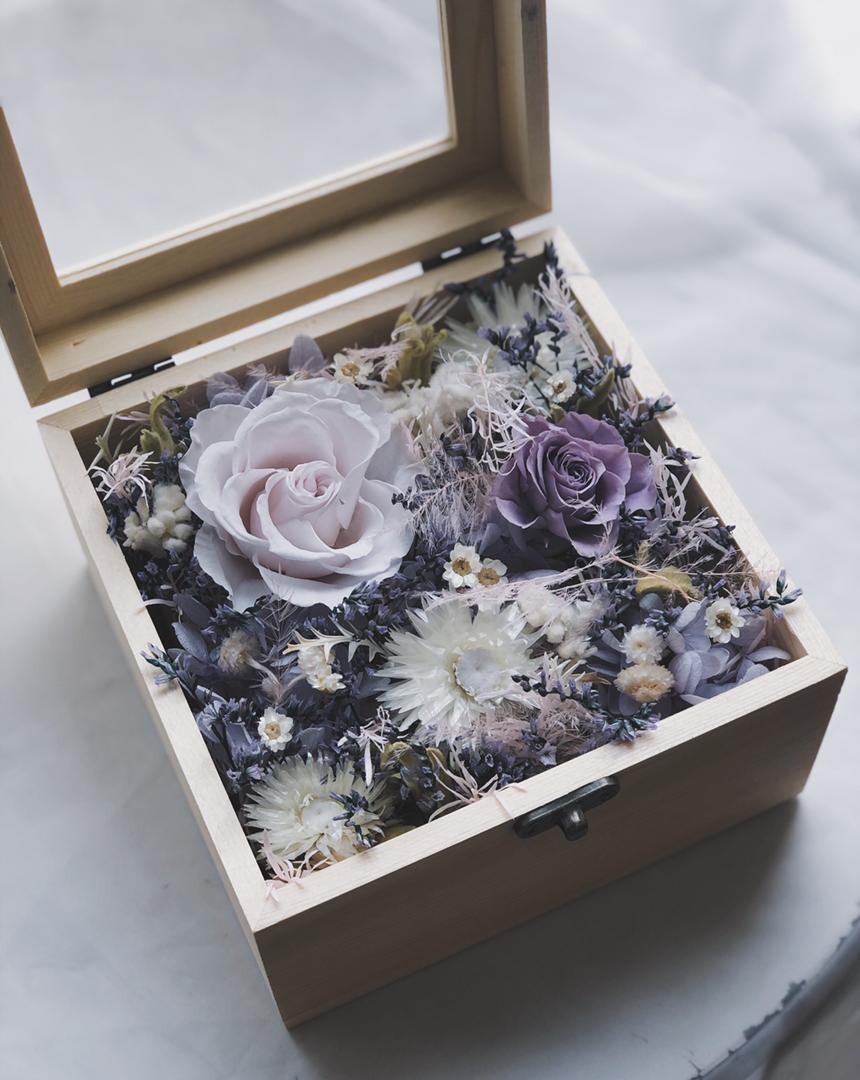 Preserved Flower Wooden Box - Purple Romantic (By: Yuki Flori from Bukit Jalil)
