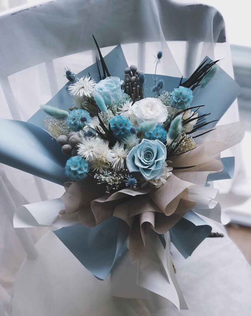 Preserved Flower Bouquet - Blue Ocean (By: Yuki Flori from Bukit Jalil)