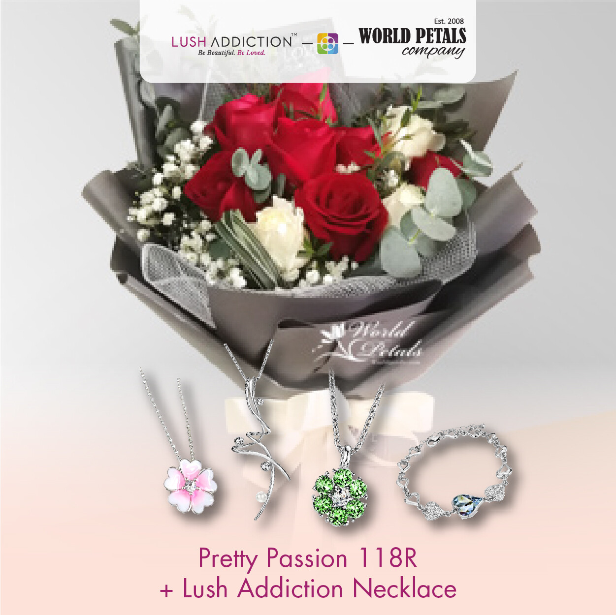 Pretty Passion  + Lush Addiction Necklace (By: World Petals Florist from KL)