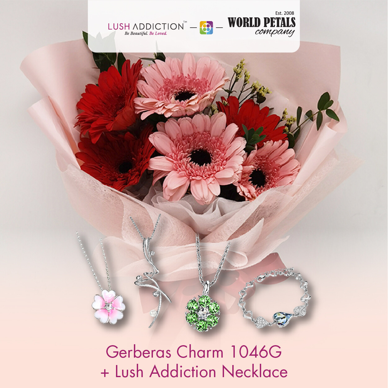 Gerberas Charm + Lush Addiction Necklace (By: World Petals Florist from KL)