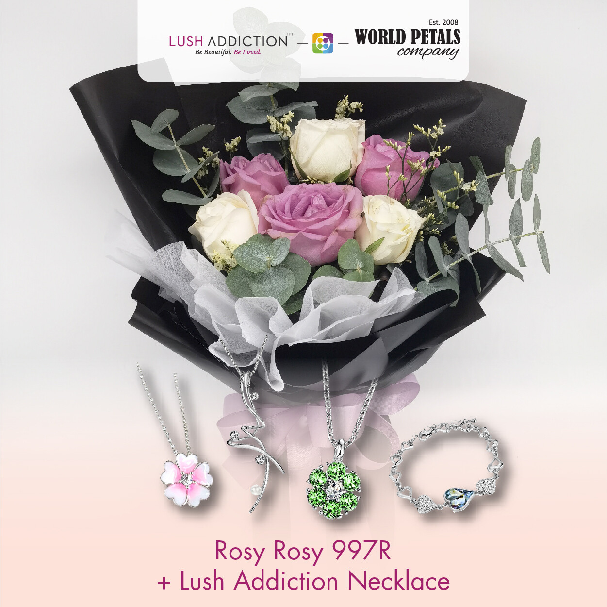 Rosy Rosy + Lush Addiction Necklace (By: World Petals Florist from KL)