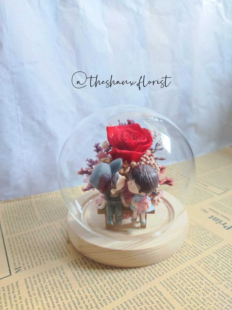 Couple Series Preserved Flower Glass Globe(without LED light) (By: The Shanx Florist from Melaka)