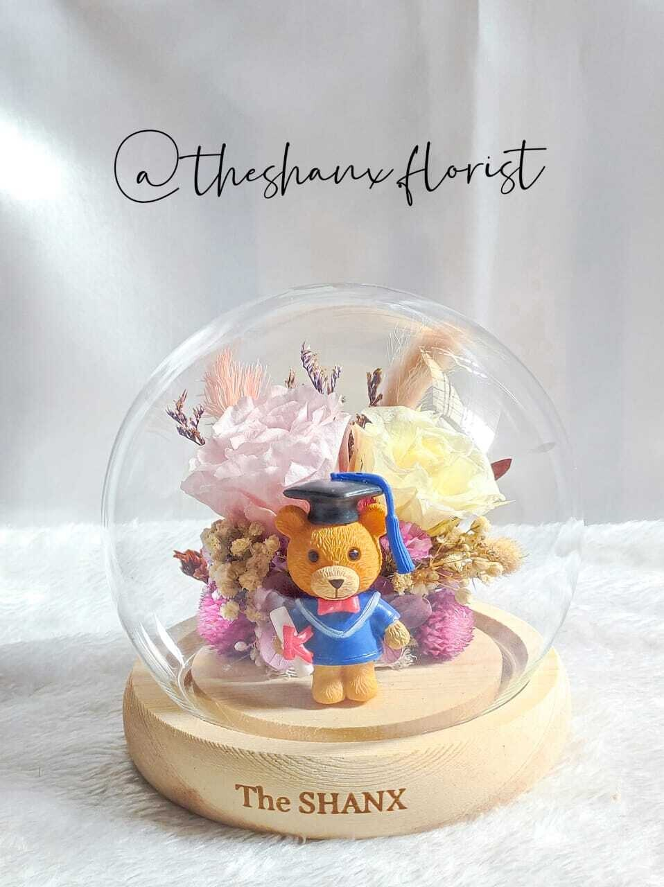 Graduation theme Preserved Flower Glass Globe (without LED light)(By: The Shanx Florist from Melaka)