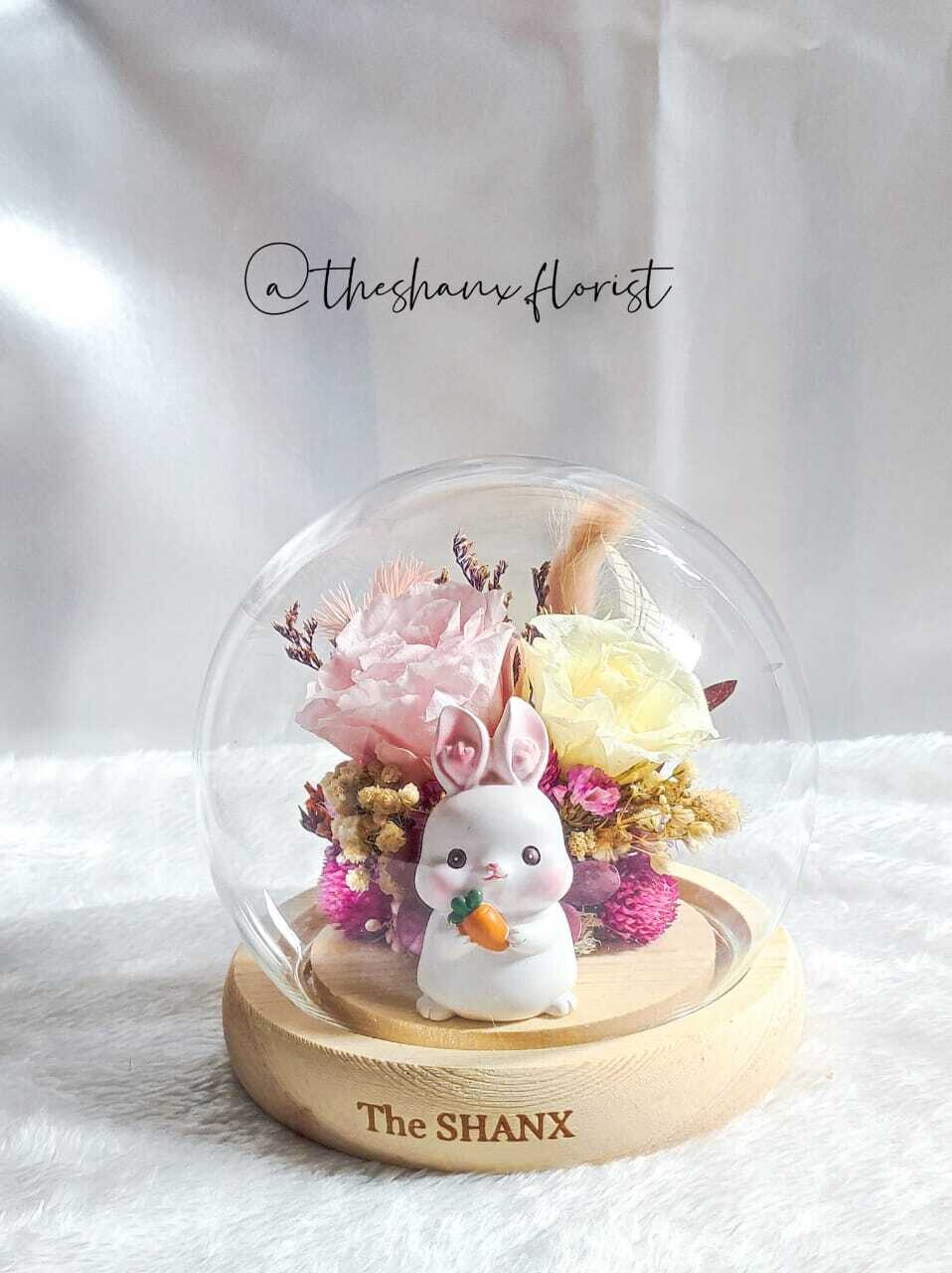 Bunny Preserved Flower Glass Globe( without LED light) (By: The Shanx Florist from Melaka)