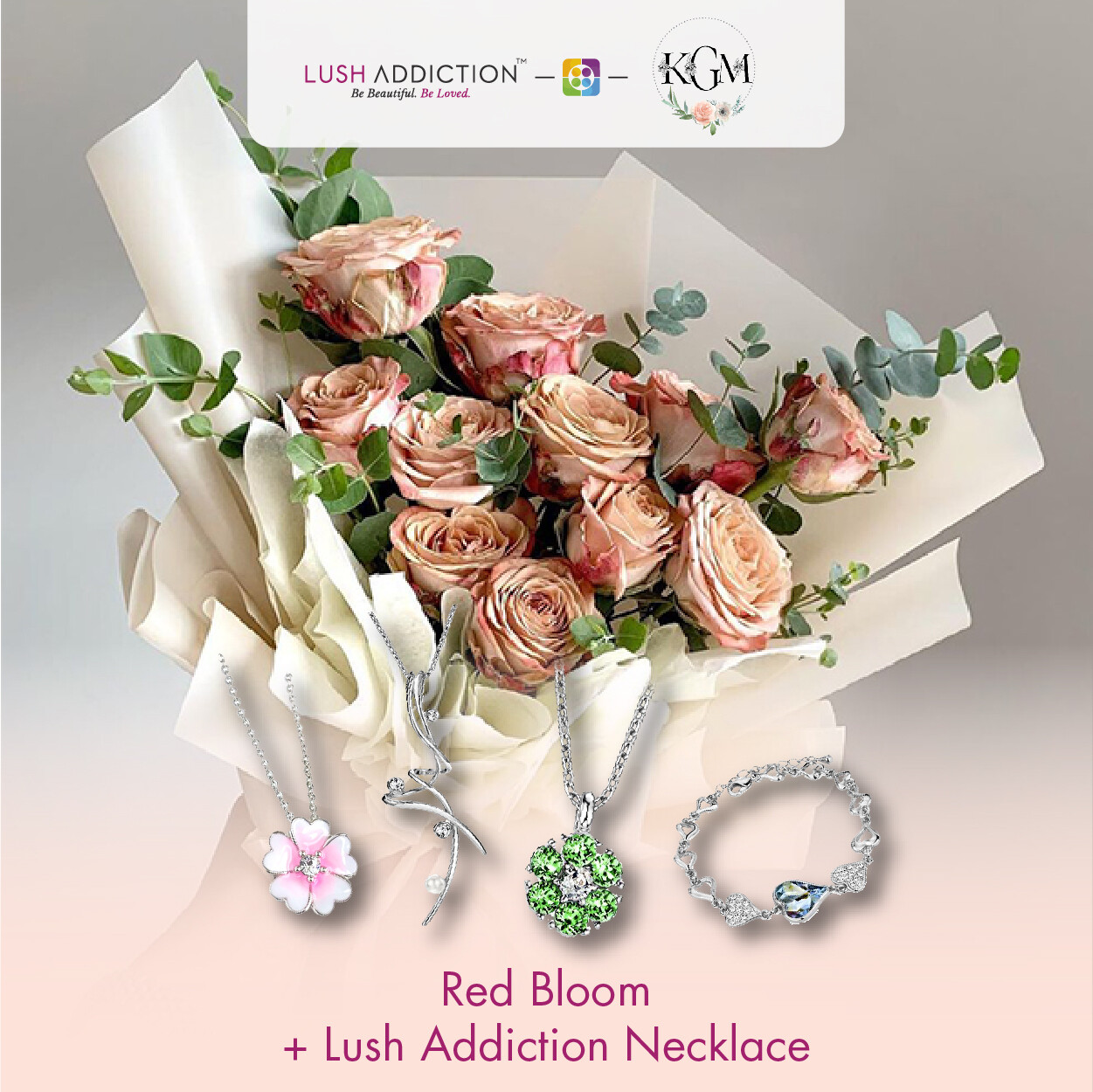 Red Bloom  + Lush Addiction Necklace (By: Keshwini Florist from KL