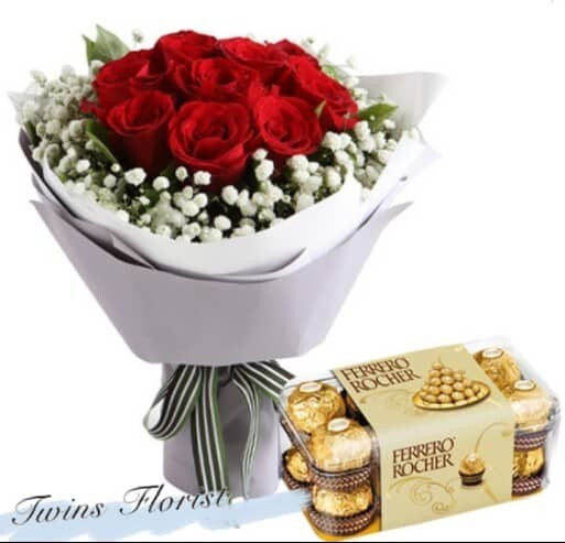 Package 1 (With Chocolate) (By: Twins Florist from Kuala Lumpur)