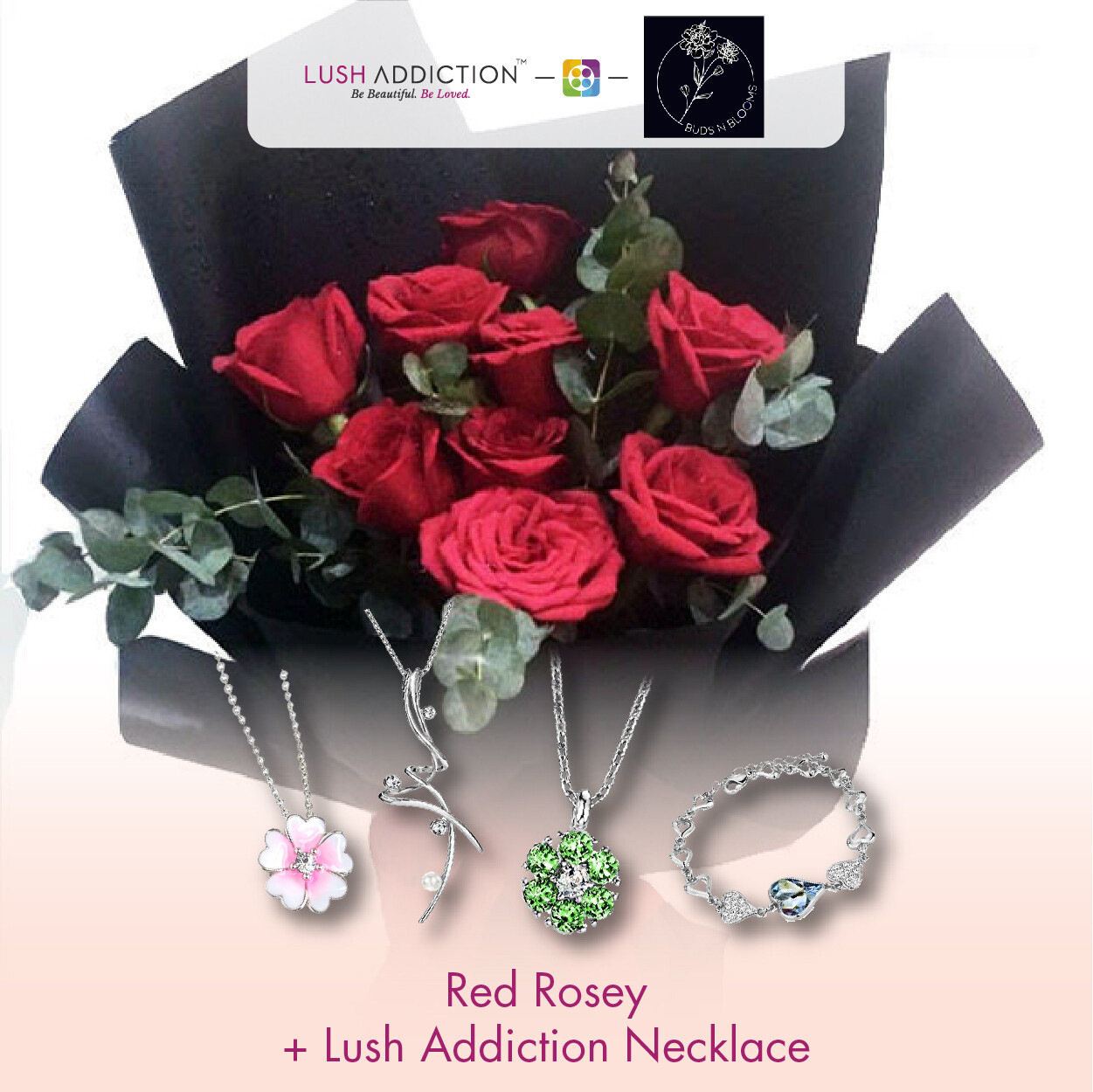 Red Rosey + Lush Addiction Necklace (By: Buds N Blooms from KL)