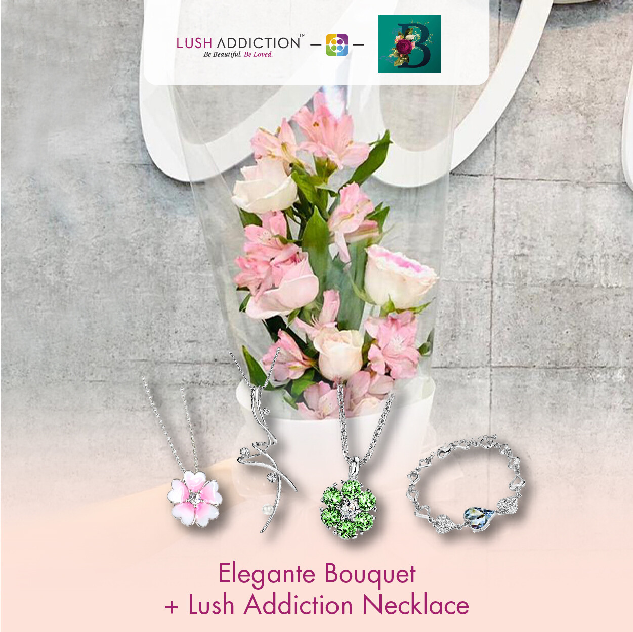 Elegante Bouquet + Lush Addiction Necklace (By: The Bliss Florist from Melaka)