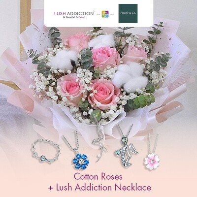 Cotton Roses + Lush Addiction Necklace (By: Fleurir & Co from Kuching)