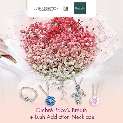 Ombré Baby's Breath + Lush Addiction Necklace (By: Fleurir & Co from Kuching)
