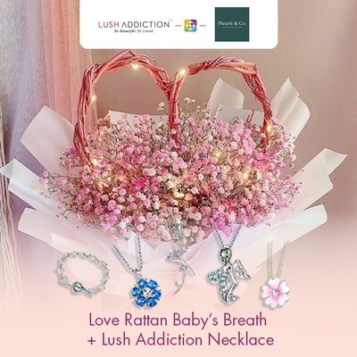 Love Rattan Baby's Breath + Lush Addiction Necklace (By: Fleurir & Co from Kuching)